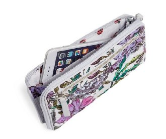 Iconic RFID Front Zip Wristlet Lavender Meadow