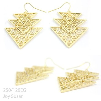 Gold Pyramid Fish Hook Earring