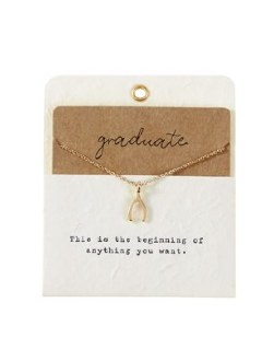 Charm Necklace Graduation Wishbone