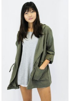 Hooded Microsuede Jacket Small