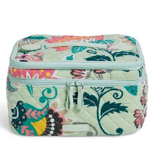 Iconic Brush Up Cosmetic Case Mint Flowers