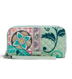 Iconic RFID Accordion Wristlet Mint Flowers