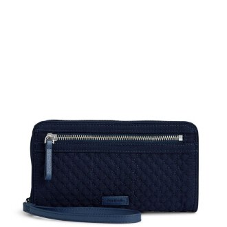 Iconic RFID Front Zip Wristlet Classic Navy