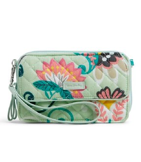 Iconic RFID All in One Crossbody Mint Flowers