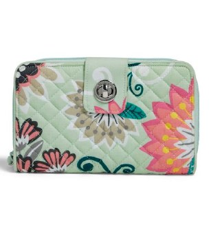 Iconic RFID Turnlock Wallet Mint Flowers