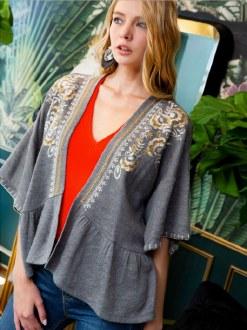 Embroidered Knit Kimono