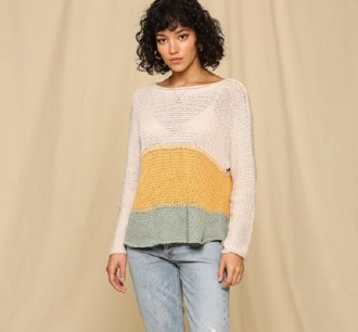 Color Block Boatneck Sweater L