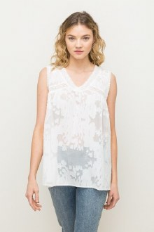 Lace Trimmed Burnout Top