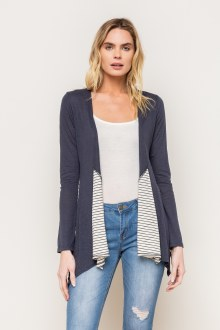Mix Striped Open Cardigan Small