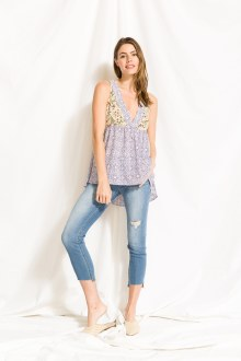 Mixed Print HalterHi Lo Top Sm