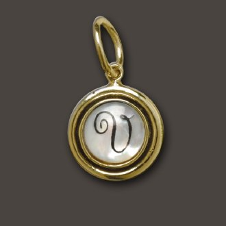 Brass Mother of Pearl Letter Charms