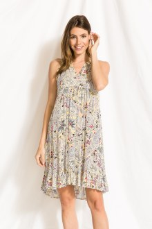 Paisley Printed SLVS Dress Med