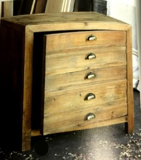 Pine Cabinet End Table
