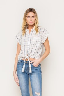 Plaid Slvs Tie Front Shirt Sma
