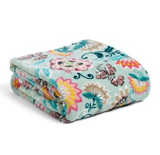 Plush Throw Blanket Mint Flowers