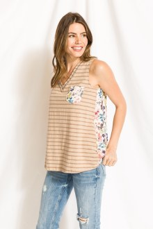 Print & Lace Contrast Tank Medium