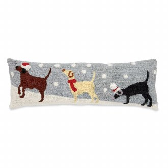 Snow Dogs Hooked Wool Pillow