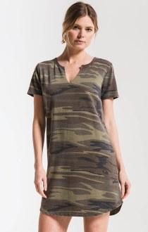 The Camo Split Neck Dress Small