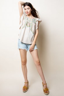 Ruffle Embroidered Top XSmall