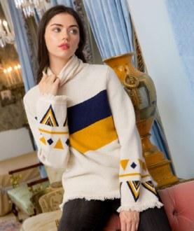 Navy/Gold Turtleneck Sweater