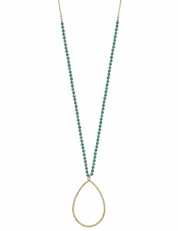Gold & Teal Crystal Teardrop