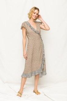 Wrap Dress Hi-low Mixed Print
