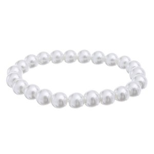 10mm Pearl Stretch Bracelet White