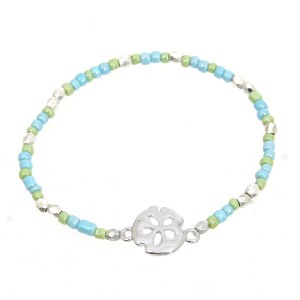 Sand Dollar Beaded Bracelet Green