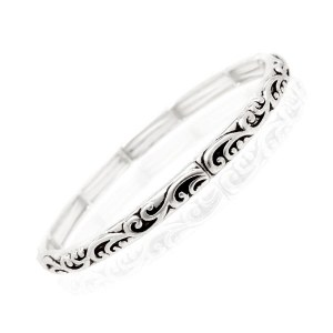 Skinny Filigree Scroll Stretch Bangle Bracelet