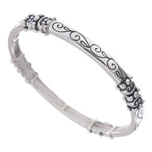 Skinny Engraved Filigree Stretch Bangle Bracelet
