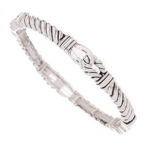 Skinny Cable Twist Linked Stretch Bracelet