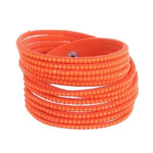 Rhinestone Studded Wraparound Bracelet Royal Orange