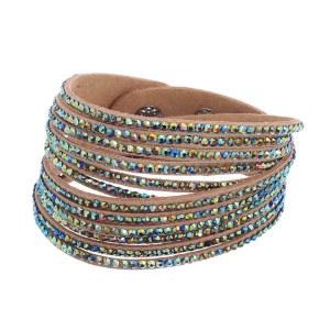 Rhinestone Studded Wraparound Bracelet Royal VM Tan