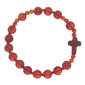 Beaded Rosary Stretch Bracelet Red Agate