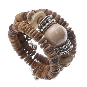 Coiled Wood Accent Chunky Bracelet Brown