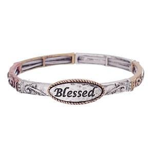 Metal Stretch Bless Bracelet Tri- Tone