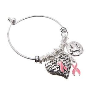 Pink Ribbon Charm Bangle
