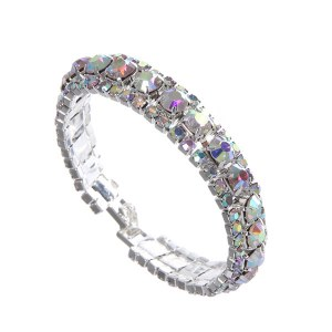 Rhinestone Evening Bracelet Iridescent