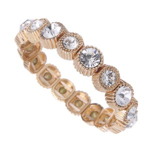 Round Crystals Metal Stretch Bracelet Gold