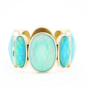 Foiled Bead Bracelet Aqua/ Turquoise