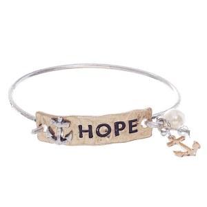 'Hope' Anchor Two Tone Bangle