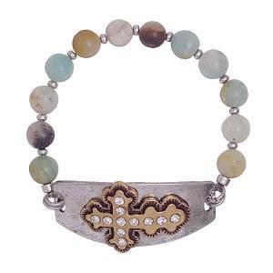 Cross Stone Beaded Bracelet Silver