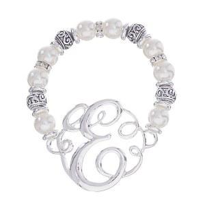 Initial Pearl Stretch Bracelet - E
