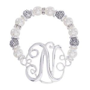Initial Pearl Stretch Bracelet - N