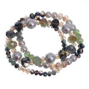 Three Strand Crystal Stretch Bracelet Green