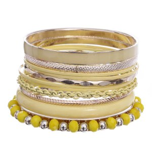 11 Piece Metal Bangle Yellow