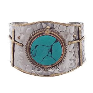 Brass Cuff Turquoise Bracelet