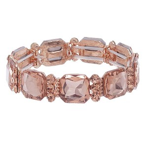 Crystal Stretch Bracelet Rose Gold Peach