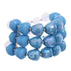 3 Row Sparkle Bead Bracelet Blue