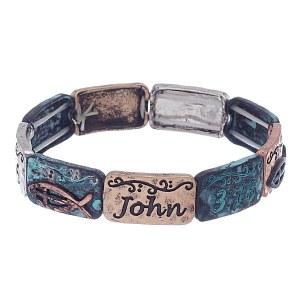 John 3:16 Metal Stretch Bracelet Patina